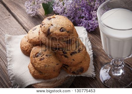 Stack Of Cookies With Glass Of Milk