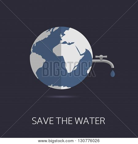 Save the water. Eco concept. Abstract world map with water tap