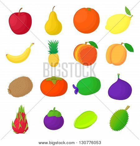 Fruit icons set in cartoon style isolated on white background