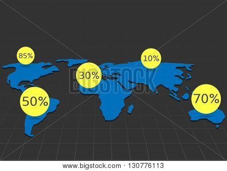 World map infographic. Blue abstract earth with yellow round markers