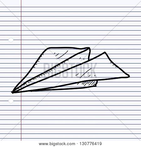 Simple hand drawn doodle of a paper aeroplane.