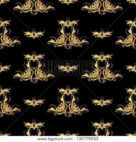 Seamless wallpaper with golden pattern. Ornate different sizes