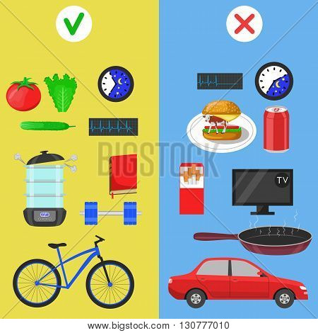 Healthy lifestyle icons. Food and hobby. Color flat vector illustration