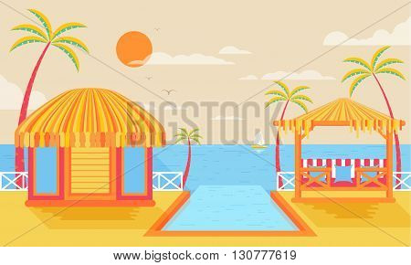 Stock vector illustration of happy sunny summer day at beach with bungalows on water on island with infinity pool, palm trees in flat style element for info graphic, website, games, motion design