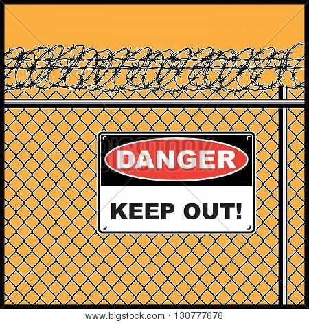 Stylized vector illustration of a fence with barbed wire and warning sign