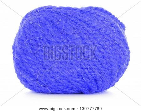 Roll of wool blue twine isolated on white background