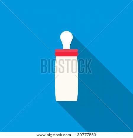 Feeding bottle icon in flat style with long shadow. Child care symbol