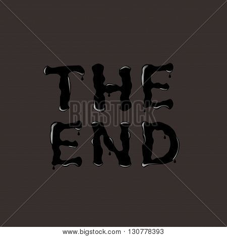 THE END. The End text. Black text. Vector illustration