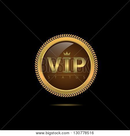 Vip status label. Luxury Golden sign, Vector illustration