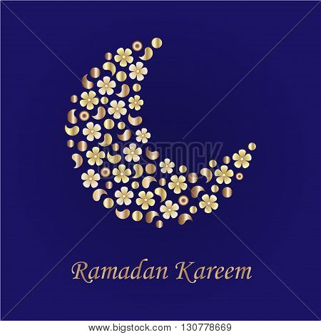 Ramadan greetings background with the moon from gold flowers . Can be used for cards flyers brochures web sites.