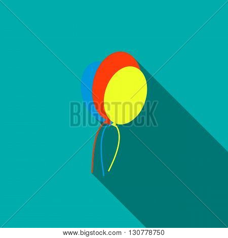 Balloons icon in flat style with long shadow. Holiday and entertainment symbol