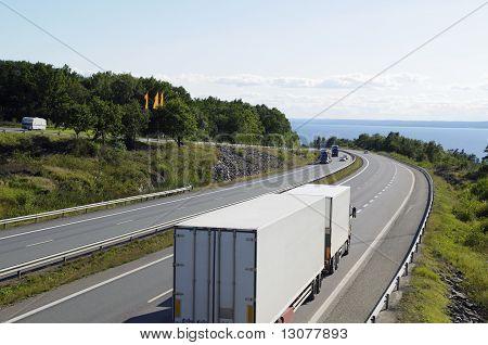 trucks on freeway