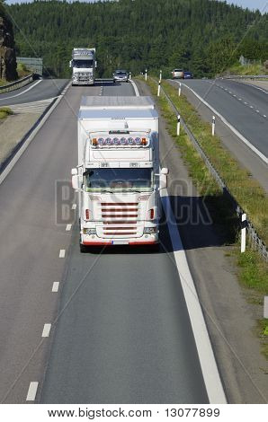 trucks and mountain pass
