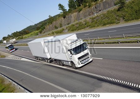 truck driving on highway