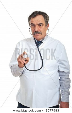 Middle Aged Doctor Man With Stethsocope