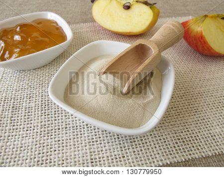 Agaragar, homemade apple jelly and fresh fruits