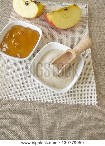 Agaragar, homemade apple jelly and fresh fruits