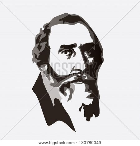 Johannes Kepler - vector portrait of the scientist