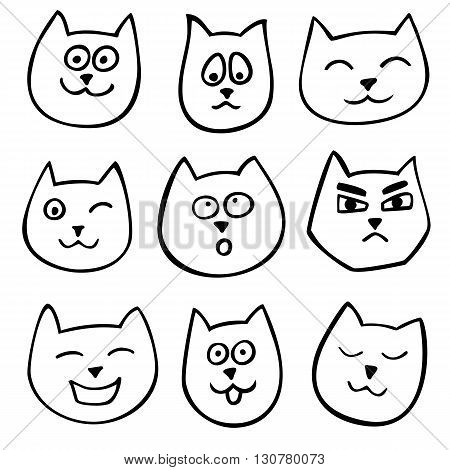 Set Of 9 Different Doodle Emotions Cat. Sketch Style