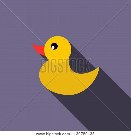 Duckling for a child icon in flat style with long shadow. Children toys symbol