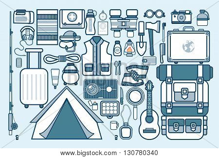 Stock vector illustration set of sports equipment for outdoor activities in the mountains, in nature, near a river in line style element for info graphic, website, icon, games, motion design, video
