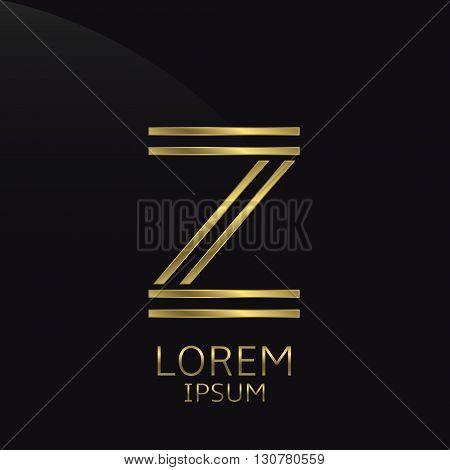 Z Letter logo. Golden logo symbol for business company, luxury elegant expensive emblem