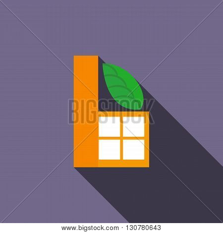 Eco industrial factory icon in flat style with long shadow