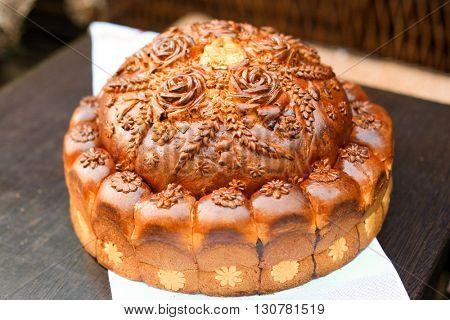 Ukrainian traditional wedding bread. Shallow depth of field