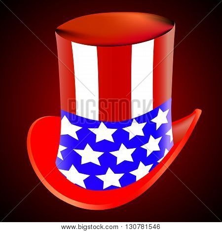 American hat on a red background, vector art illustration.