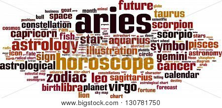 Aries word cloud concept. Vector illustration on white