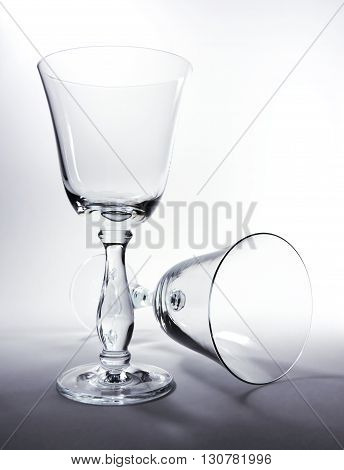 Elegant, empty wineglasses, high contrast study shot.