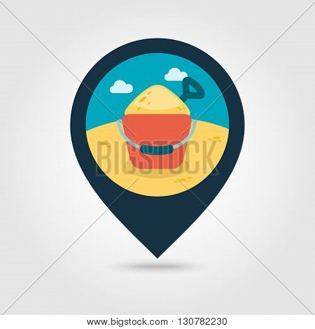 Sand Bucket and shovel vector pin map icon. Beach Map pointer. Summer Map markers. Summertime. Vacation eps 10