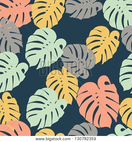 seamless pattern tropical monstera leaves on a dark background