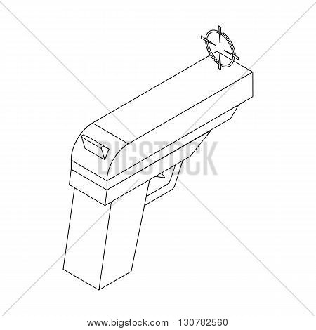 Gun icon in isometric 3d style on a white background