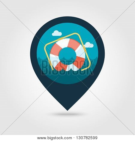 Lifebuoy vector pin map icon. Beach Map pointer. Summer Map markers. Summertime. Vacation eps 10