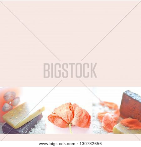 Beautiful blank with handmade soap poppy flower and sea salt. Spa background. Spa concept. Wellness and relaxing concepts or massage advertising. Can use as a card advertising poster banner flyer