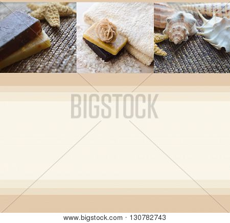 Beautiful blank with handmade soap towel and seashells. Spa background. Spa concept. Wellness and relaxing concepts or massage advertising. Can use as a card advertising poster banner flyer.