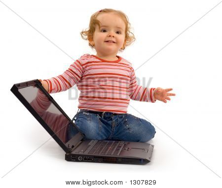 Baby Girl With Laptop