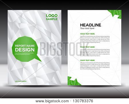 White Cover Annual report template brochure flyer polygon background book cover leaflet poster newslette