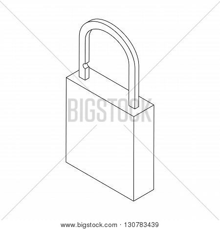 Padlock icon in isometric 3d style on a white background