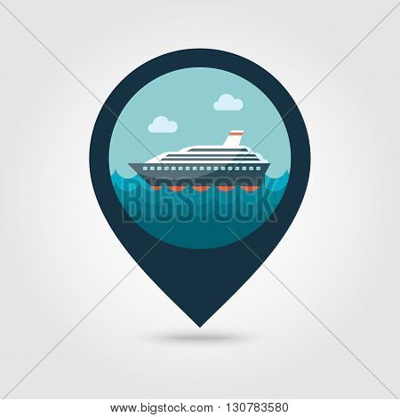 Cruise transatlantic liner vector pin map icon. Marine Map pointer. Summer Map markers. Summertime. Vacation eps 10