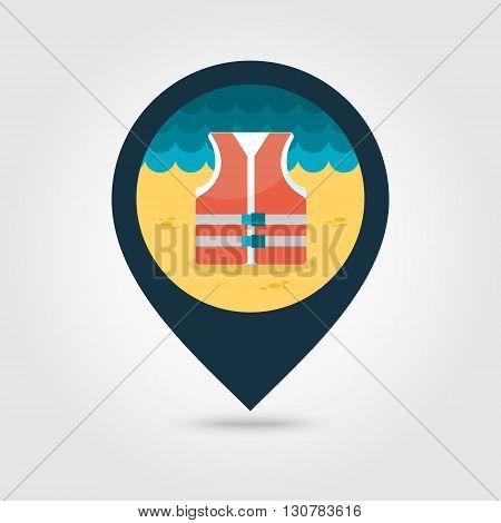 Life jacket vector pin map icon. Beach Map pointer. Summer Map markers. Summertime. Vacation eps 10