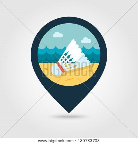 Shuttlecock for badminton sport vector pin map icon. Beach Map pointer. Summer Map markers. Summertime. Vacation eps 10