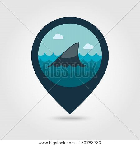 Shark fin vector pin map icon. Beach Map pointer. Summer Map markers. Summertime. Vacation eps 10