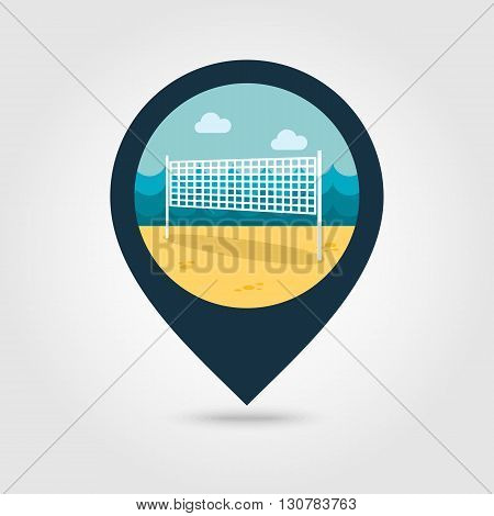 Volleyball net beach sport vector pin map icon. Beach Map pointer. Summer Map markers. Summertime. Vacation eps 10