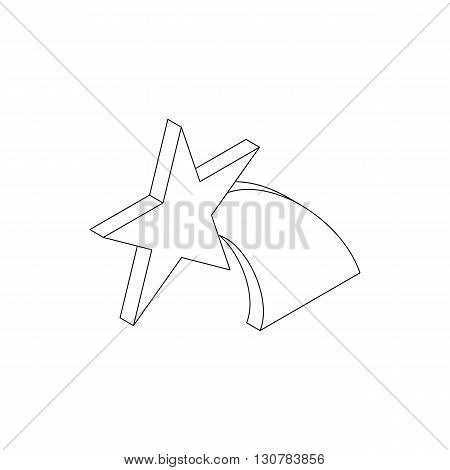 Falling star icon in isometric 3d style on a white background