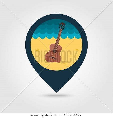 Guitar Beach vector pin map icon. Beach Map pointer. Summer Map markers. Summertime. Vacation eps 10