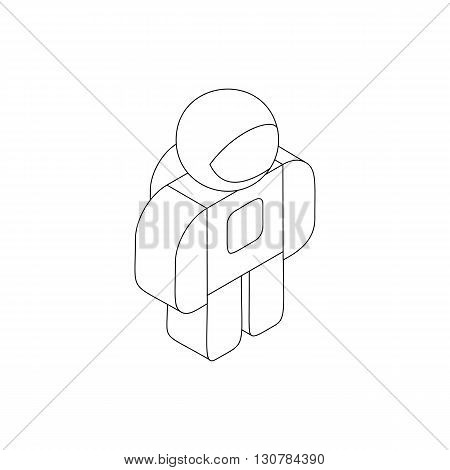 Astronaut in spacesuit icon in isometric 3d style on a white background