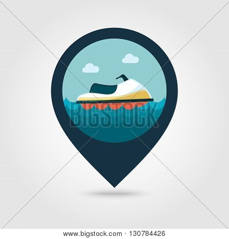 Jet watercraft vector pin map icon. Beach Map pointer. Summer Map markers. Summertime. Vacation eps 10