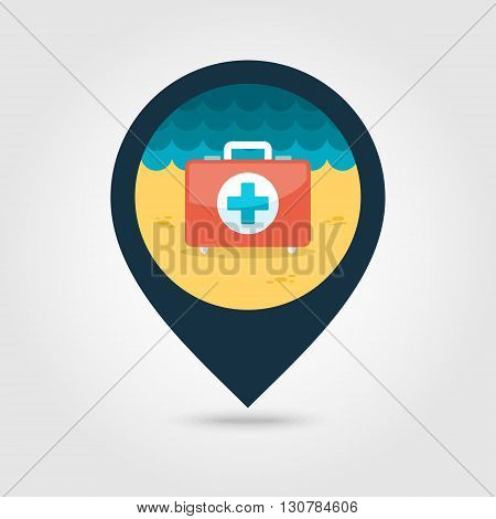First aid vector pin map icon. Beach Map pointer. Summer Map markers. Summertime. Vacation eps 10